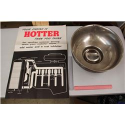 Unknown Bowl & A Poster 'Your Engine is Hotter Than You Think'