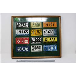 Framed Set of (12) 1953 Wheaties Cereal License Plates