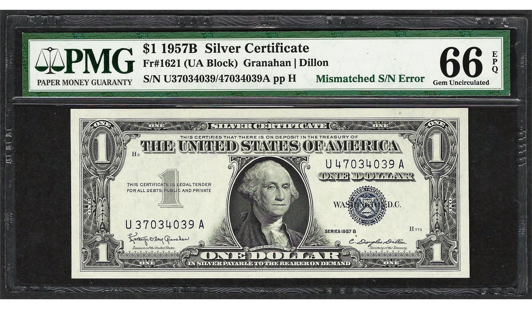 1957B $1 Silver Certificate Note Mismatched S/N ERROR PMG Gem ...