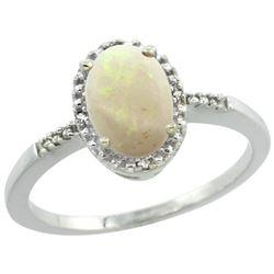 Natural 0.73 ctw Opal & Diamond Engagement Ring 10K White Gold - REF-16R8Z