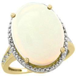 Natural 13.6 ctw Opal & Diamond Engagement Ring 14K Yellow Gold - REF-82K7R