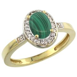 Natural 0.83 ctw Malachite & Diamond Engagement Ring 14K Yellow Gold - REF-30A2V