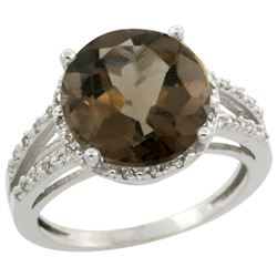 Natural 5.34 ctw Smoky-topaz & Diamond Engagement Ring 14K White Gold - REF-45X5A
