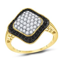 1.02 CTW Black Color Diamond Cluster Ring 10KT Yellow Gold - REF-36Y2X