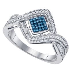 0.15 CTW Blue Color Diamond Square Cluster Ring 10KT White Gold - REF-30K2W