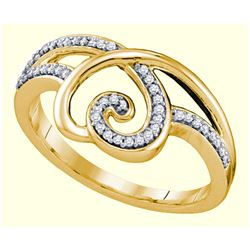 0.15 CTW Diamond Heart Love Ring 10KT Yellow Gold - REF-20Y9X