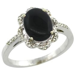 Natural 1.89 ctw Onyx & Diamond Engagement Ring 10K White Gold - REF-27A3V