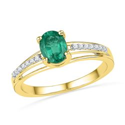 0.07 CTW Oval Created Emerald Solitaire Ring 10KT Yellow Gold - REF-14F9N