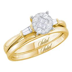 0.25 CTW Princess Diamond Soleil Bridal Engagement Ring 14KT Yellow Gold - REF-44W9K