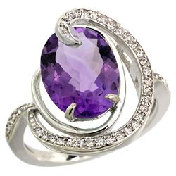 Natural 6.53 ctw amethyst & Diamond Engagement Ring 14K White Gold - REF-72G8M