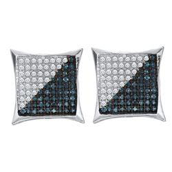 0.11 CTW Mens Blue Color Diamond Square Kite Cluster Earrings 10KT White Gold - REF-8W9K