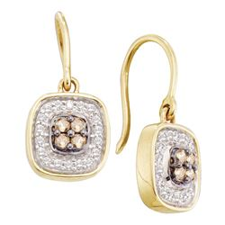 0.33 CTW Cognac-brown Color Diamond Dangle Earrings 14KT Yellow Gold - REF-34H4M