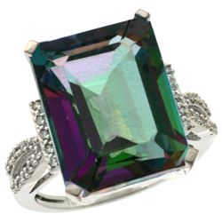 Natural 12.14 ctw Mystic-topaz & Diamond Engagement Ring 10K White Gold - REF-53H2W