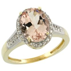 Natural 2.49 ctw Morganite & Diamond Engagement Ring 14K Yellow Gold - REF-66G2M