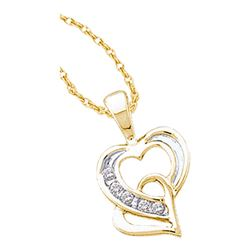 0.05 CTW Diamond Double Joined Heart Pendant 14KT Yellow Gold - REF-13Y4X