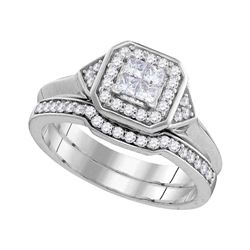 0.51 CTW Princess Diamond Halo Bridal Engagement Ring 10KT White Gold - REF-57W2K