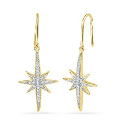 0.16 CTW Diamond Starburst Dangle Earrings 10KT Yellow Gold - REF-18N2F