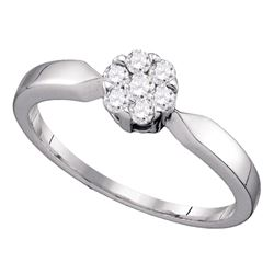 0.25 CTW Flower Cluster Diamond Bridal Wedding Engagement Ring 10KT White Gold - REF-22W4K