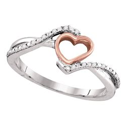 0.07 CTW Diamond 2-tone Pink Teen Slender Heart Love Ring 10KT Two-tone Gold - REF-10X5Y