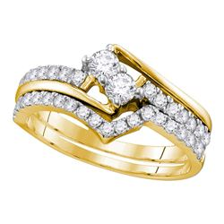 0.74 CTW 2-Stone Diamond Hearts Together Bridal Ring 14KT Yellow Gold - REF-71W3K
