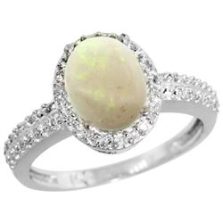 Natural 1.21 ctw Opal & Diamond Engagement Ring 14K White Gold - REF-40H6W