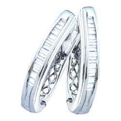 0.27 CTW Diamond Hoop Earrings 10KT White Gold - REF-18W2K