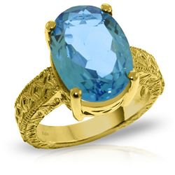 Genuine 8 ctw Blue Topaz Ring Jewelry 14KT Yellow Gold - REF-126M3T