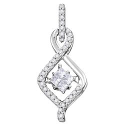 0.20 CTW Princess Diamond Moving Twinkle Teardrop Pendant 10KT White Gold - REF-24X2Y