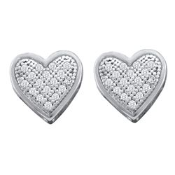 0.10 CTW Diamond Heart Screwback Earrings 10KT White Gold - REF-12K2W