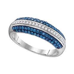 0.50 CTW Blue Color Diamond Ring 10KT White Gold - REF-26M9H