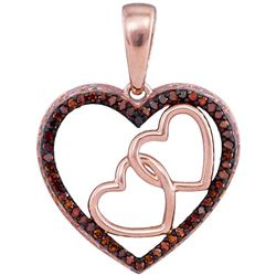 0.15 CTW Red Color Diamond Heart Love Pendant 10KT Rose Gold - REF-19K4W