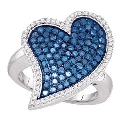 1.5 CTW Blue Color Diamond Large Heart Cluster Ring 10KT White Gold - REF-67W4K