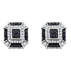 0.48 CTW Black Color Diamond Square Geometric Cluster Earrings 10KT White Gold - REF-32H9M