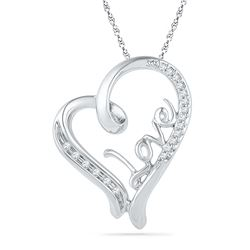 0.10 CTW Diamond Heart Love Pendant 10KT White Gold - REF-16W4K