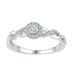 0.21 CTW Diamond Solitaire Bridal Engagement Ring 10KT White Gold - REF-24X6Y
