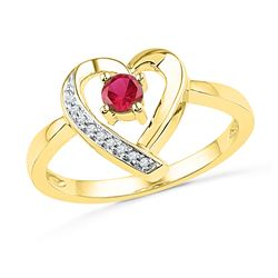 0.28 CTW Created Ruby Heart Love Ring 10KT Yellow Gold - REF-14X9Y