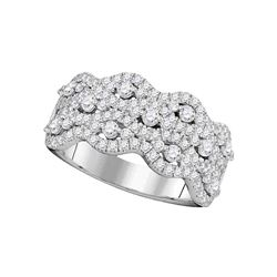 1.13 CTW Pave-set Diamond Strand Cocktail Ring 14KT White Gold - REF-104H9M