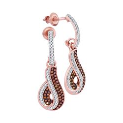 0.40 CTW Red Color Diamond Dangle Earrings 10KT Rose Gold - REF-41H9M