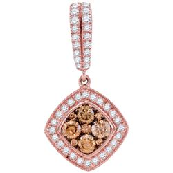 1 CTW Cognac-brown Color Diamond Diagonal Pendant 14KT Rose Gold - REF-97Y4X