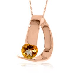 Genuine 1 ctw Citrine Necklace Jewelry 14KT Rose Gold - REF-50H5X