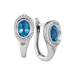 2.08 CTW Oval Natural Blue Topaz Diamond Hoop Earrings 14KT White Gold - REF-89X9Y