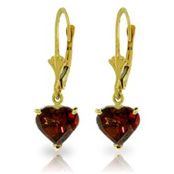 Genuine 3.05 ctw Garnet Earrings Jewelry 14KT Yellow Gold - REF-29H7X