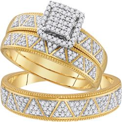 0.50 CTW His & Hers Diamond Matching Bridal Ring 10KT Yellow Gold - REF-52K4W