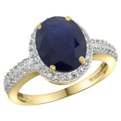 Natural 2.56 ctw Blue-sapphire & Diamond Engagement Ring 10K Yellow Gold - REF-93M5H
