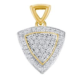 0.15 CTW Diamond Triangle Cluster Pendant 10KT Yellow Gold - REF-14X9Y