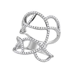 0.93 CTW Diamond Openwork Abstract Strand Knuckle Ring 18KT White Gold - REF-199M4H