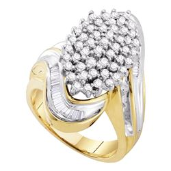 1.03 CTW Diamond Wide Cluster Ring 10KT Yellow Gold - REF-75N2F