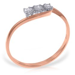 Genuine 0.15 ctw Diamond Anniversary Ring Jewelry 14KT Rose Gold - REF-36X9M