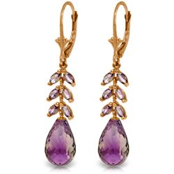 Genuine 11.20 ctw Amethyst Earrings Jewelry 14KT Rose Gold - REF-56A2K