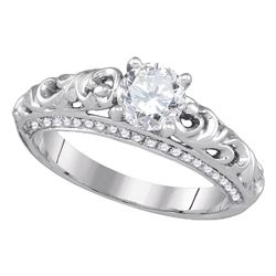 1 CTW Diamond Solitaire Bridal Engagement Ring 14KT White Gold - REF-320W9K